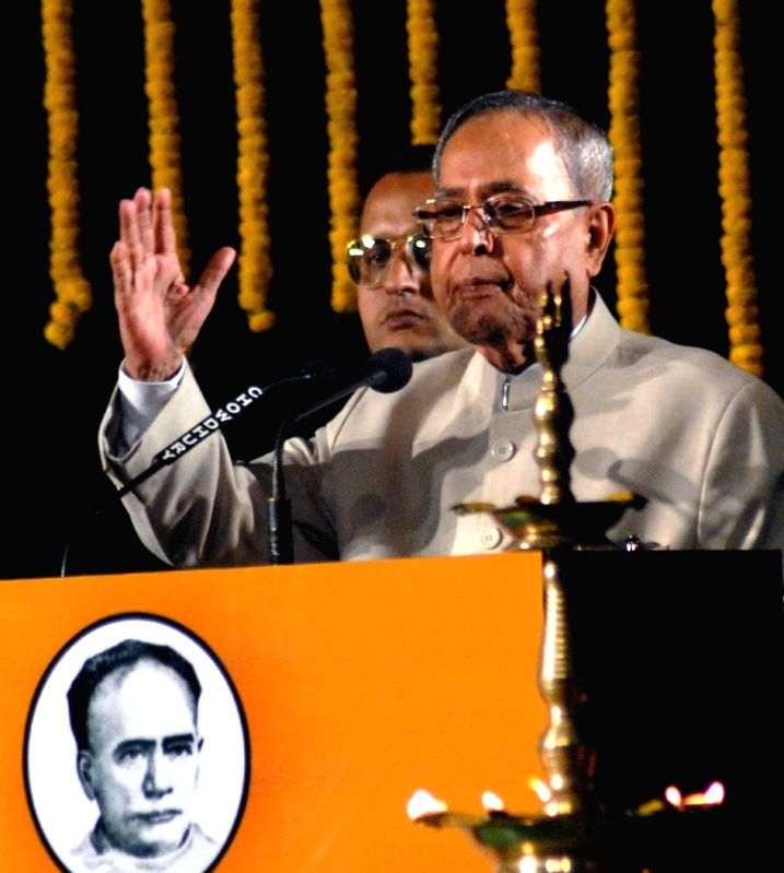 President Pranab Mukherjee addresses during 150th years celebration of Metropolitan Institution in Kolkata on Nov 29, 2014. - Pranab Mukherjee