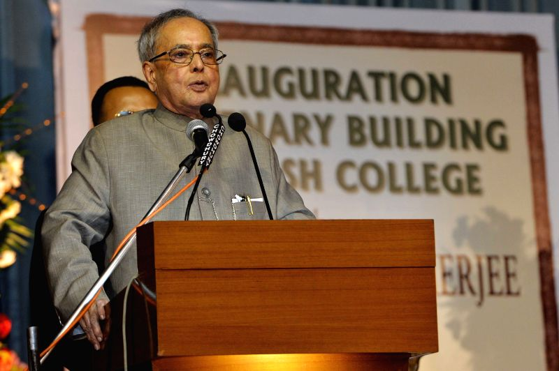 President Pranab Mukherjee addresses during a programme organised to inaugurate the centenary building of Asutosh College in Kolkata, on April 1, 2015. - Pranab Mukherjee