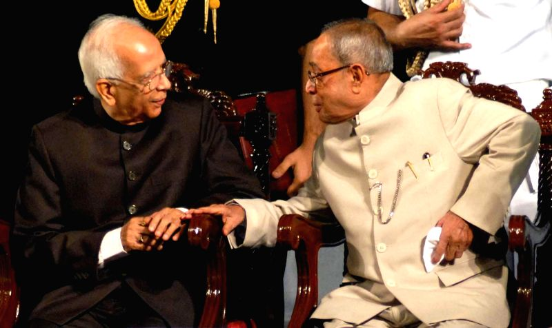 President Pranab Mukherjee along with Governor of West Bengal Keshari Nath Tripathi during 150th years celebration of Metropolitan Institution in Kolkata on Nov 29, 2014. - Pranab Mukherjee