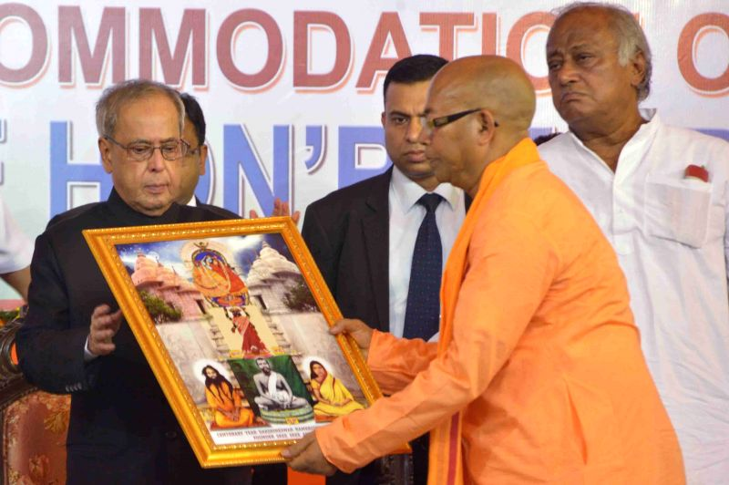 President Pranab Mukherjee being felicitated during inauguration of the centenary year celebration of Adyama's advent at Dakshineswar near Kolkata on April 2, 2015. The president also ... - Pranab Mukherjee, Keshari Nath Tripathi and Saugata Roy