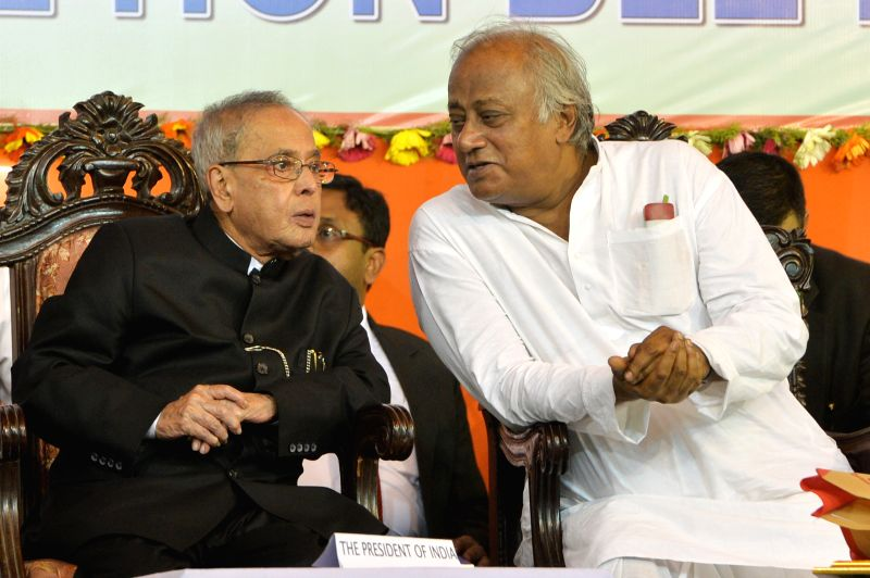 President Pranab Mukherjee with Trinamool Congress leader Saugata Roy during inauguration of the centenary year celebration of Adyama's advent at Dakshineswar near Kolkata on April 2, 2015. ... - Pranab Mukherjee and Saugata Roy