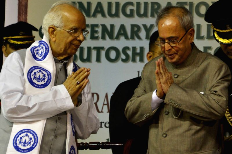President Pranab Mukherjee with West Bengal Governor Keshari Nath Tripathi  during a programme organised to inaugurate the centenary building of Asutosh College in Kolkata, on April 1, 2015. - Pranab Mukherjee and Keshari Nath Tripathi