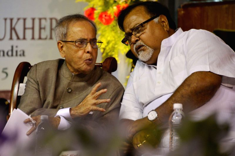 President Pranab Mukherjee with West Bengal Education Minister Partha Chatterjee during a programme organised to inaugurate the centenary building of Asutosh College in Kolkata, on April 1, ... - Partha Chatterjee and Pranab Mukherjee