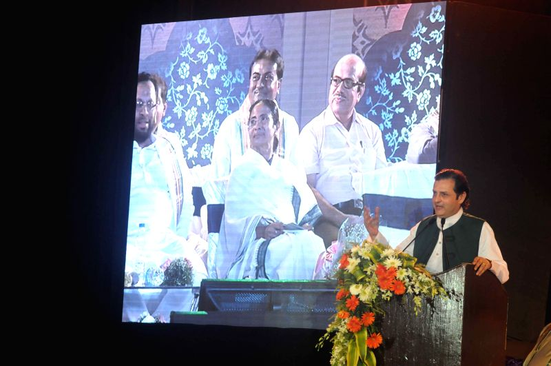 Prominent Pakistani politician and grandson of Urdu poet Muhammad Iqbal, Waleed addresses during a programme organised to felicitate Iqbal in Kolkata, on May 29, 2015.