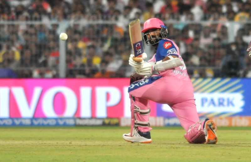 Kolkata: Rajasthan Royals' Ajinkya Rahane in action during the 43rd match of IPL 2019 between Kolkata Knight Riders and Rajasthan Royals at Eden Gardens in Kolkata, on April 25, 2019. (Photo: Kuntal Chakrabarty/IANS)