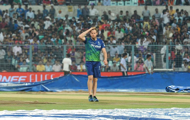 Rajasthan Royals player Steve Smith ​​at the Eden Gardens after rains disrupted an IPL-2015 match between Kolkata Knight Riders (KKR) and Rajasthan Royals (RR) in Kolkata on April 26, ...