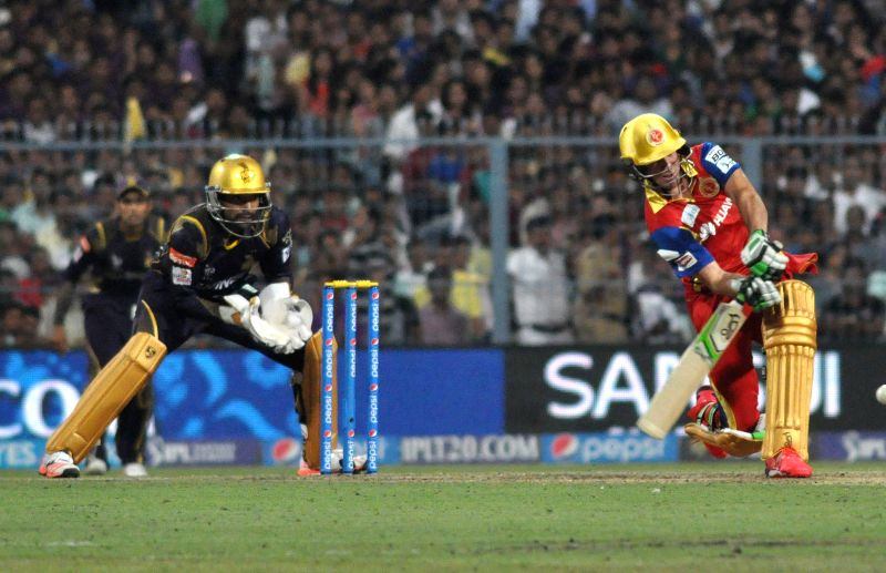 RCB batsman Ab De Villiers in action during IPL match between Kolkata Knight Riders (KKR) and Royal Challengers Bangalore (RCB) at Eden Gardens in Kolkata on April 11, 2015.
