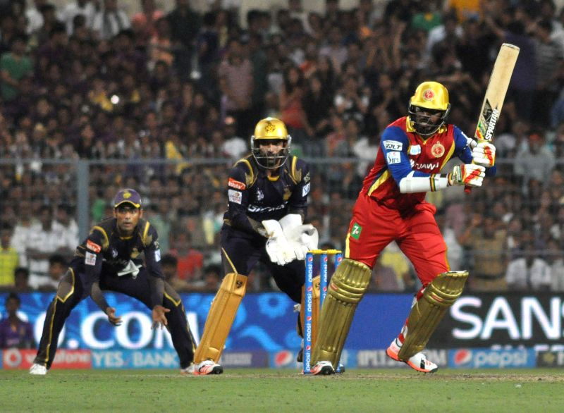RCB batsman Chris Gayle in action during IPL match between Kolkata Knight Riders (KKR) and Royal Challengers Bangalore (RCB) at Eden Gardens in Kolkata on April 11, 2015. - Chris Gayle