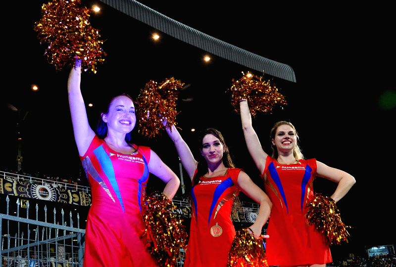 RCB Cheerleaders during an IPL-2015 match between Kolkata Knight Riders (KKR) and Royal Challengers Bangalore (RCB) at Eden Gardens in Kolkata on April 11, 2015.
