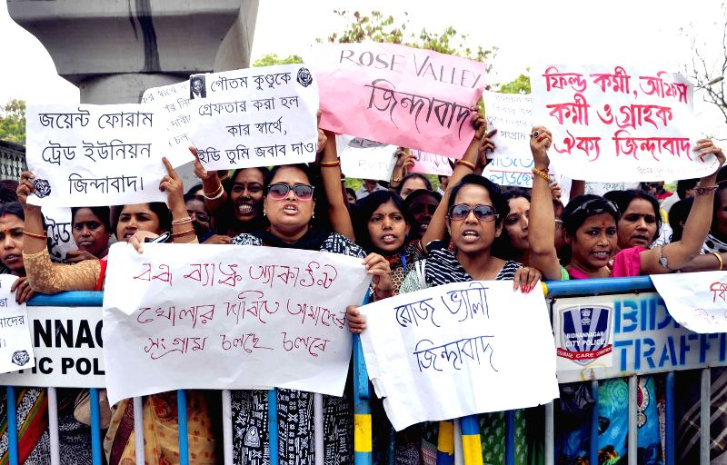 Rose Valley staff members stage a demonstration to press for release of Rose Valley Group chairman Gautam Kundu - who was arrested by the ED (Enforcement Directorate) in connection with a ...