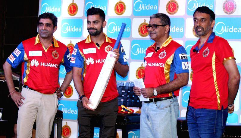 Royal Challengers Bangalore (RCB) captain Virat Kohli during a promotional program in Kolkata on April 10, 2015.