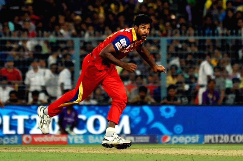Royal Challengers Bangalore (RCB) player Varun Aaron during an IPL-2015 match between Kolkata Knight Riders (KKR) and Royal Challengers Bangalore (RCB) at Eden Gardens in Kolkata on April ...