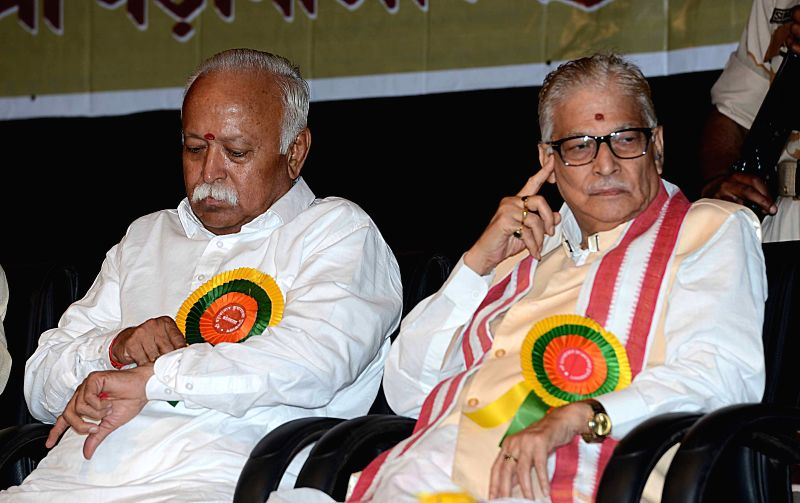 RSS chief Mohan Bhagwat and BJP leader Murli Manohar Joshi during a programme in Kolkata, on April 1, 2015.
