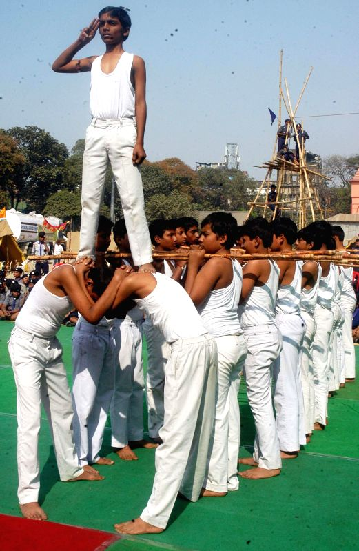 Scouts during a programme in Kolkata, on Dec 28, 2014.