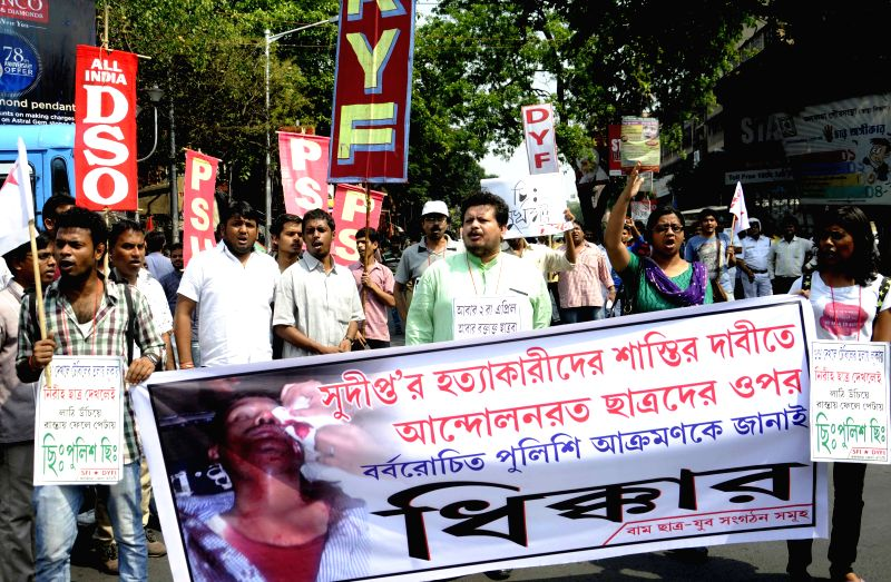 SFI activists led by Ritabrata Bhattacharya stage a demonstration against West Bengal government in Kolkata, on April 3, 2015.