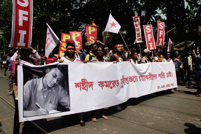 SFI activists participate in rally against West Bengal Government in Kolkata, on April 2, 2015.
