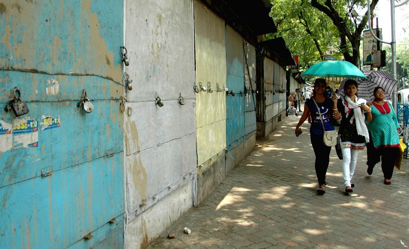Shops closed at College Street during a general strike called by opposition parties in Kolkata on April 30, 2015.