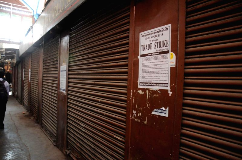 Shops remain closed in New Market of Kolkata as Joint Traders` Federation calls a three-day long strike  on March 11, 2015. The traders are demanding more time for payment of taxes.