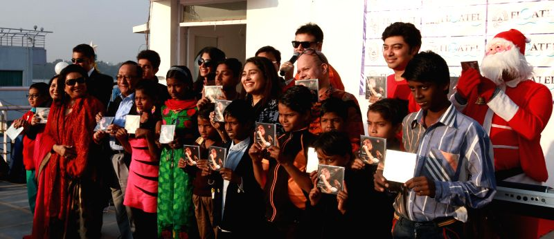 Singer Neepabithi Ghosh during the launch of her new album `Iconic` on Boxing Day in Kolkata, on Dec 26, 2014.