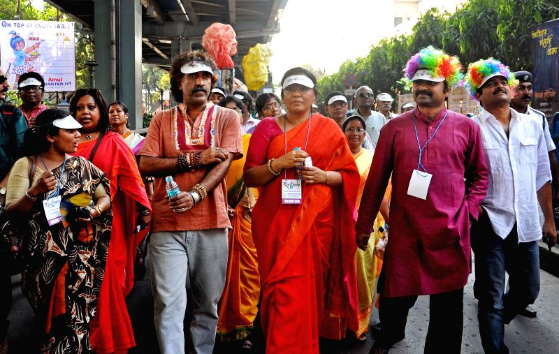 Singers Kalikaprasad, Lopamudra Mitra, Upal and others participate in `Rongholi` - a campaign against `Excessive pressure on children` in Kolkata on March 13, 2015.