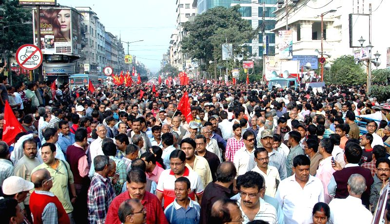 Sixteen leftist organisational activists take part in a rally to mark the 22nd anniversary of the demolition of Babri Masjid in Kolkata on Dec. 6, 2014.