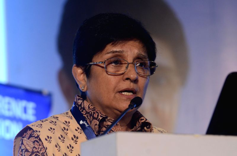 Social activist and retired IPS officer Kiran Bedi delivering leadership keynote during a seminar of INFOCOM 2014 on `Making a Difference` in Kolkata on Dec. 6, 2014.