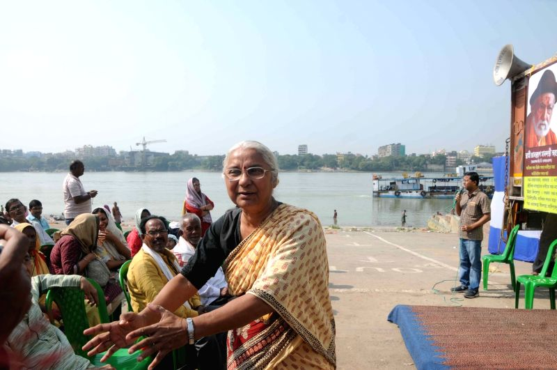 Social activist Medha Patkar addresses during a programme