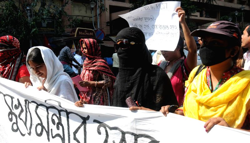 SSC qualified youths participate in demonstration to press for their demands in Kolkata, on March 23, 2015.