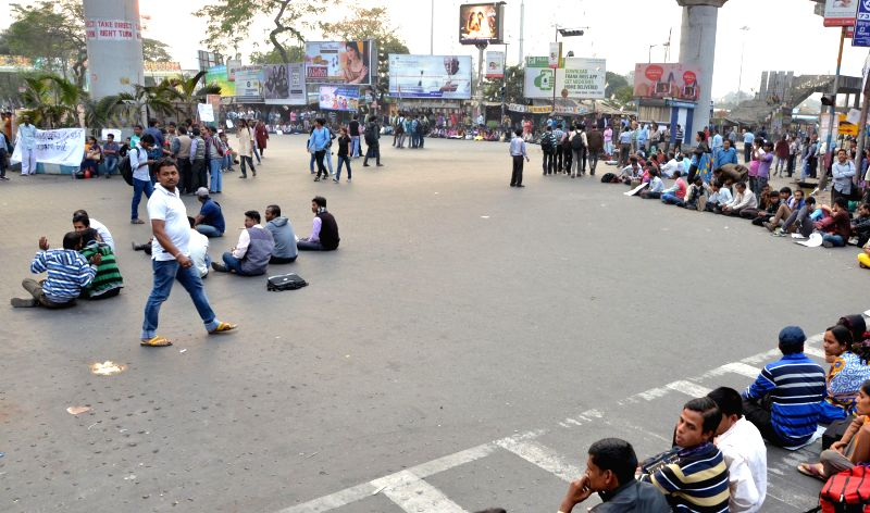SSC qualified youths participate in a protest against the West Bengal Government at Salt Lake, Kolkata, on Feb 9, 2015.