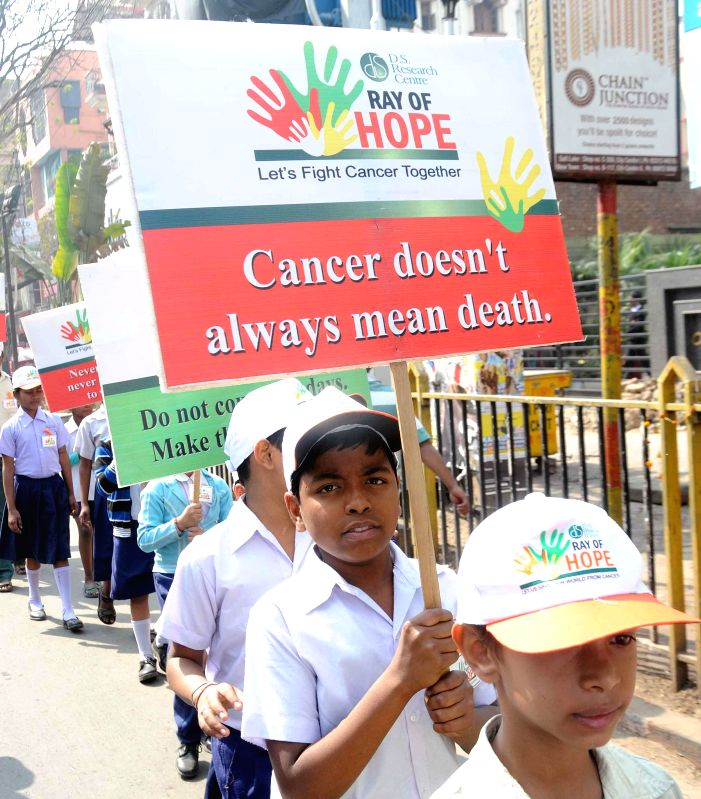 Students participate in a awareness rally during World Cancer Day in Kolkata on Feb. 4, 2015.