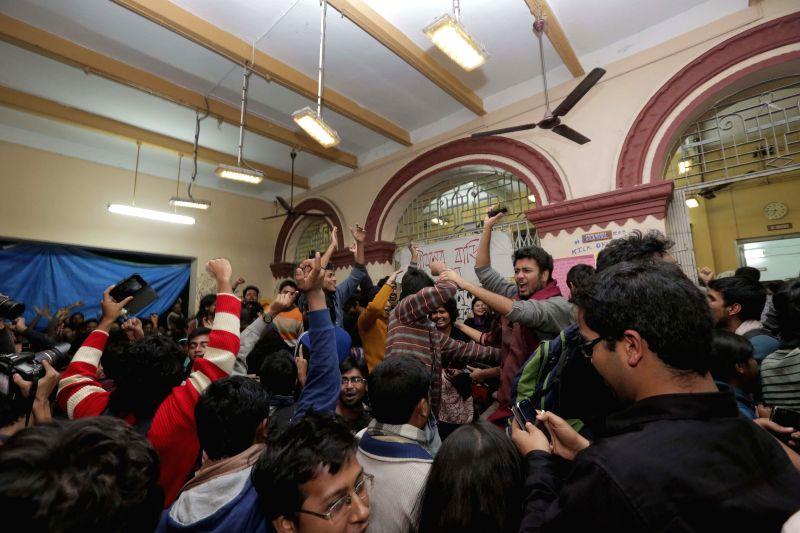Students rejoice as West Bengal Chief Minister Mamata Banerjee announces resignation of Jadavpur University Vice Chancellor Abhijit Chakrabarti at the varsity campus in Kolkata, on Jan 12, .. - Mamata Banerjee