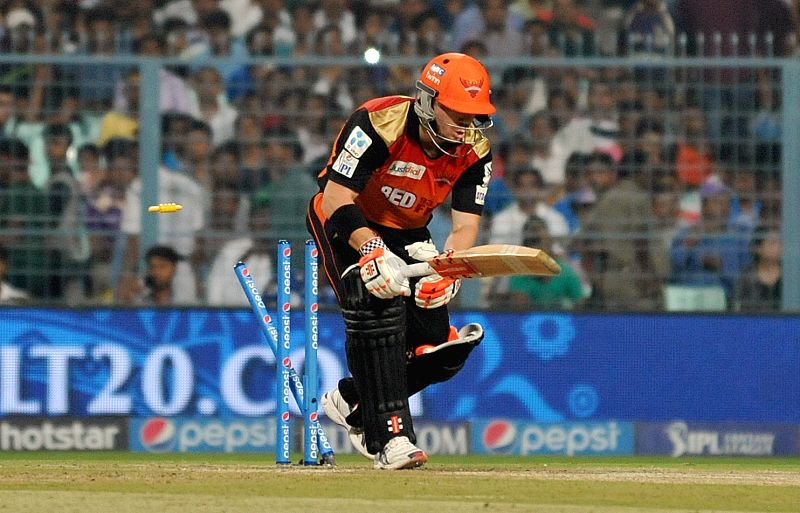 Sunrisers Hyderabad batsman David Warner gets bowled during an IPL 2015 match between Kolkata Knight Riders and Sunrisers Hyderabad at the Eden Gardens in Kolkata, on May 4, 2015. - David Warner