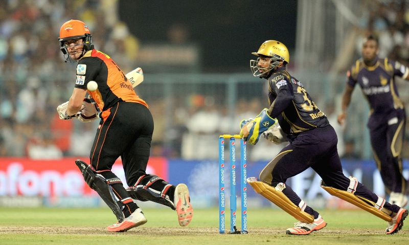 Sunrisers Hyderabad batsman Moises Henriques in action during an IPL 2015 match between Kolkata Knight Riders and Sunrisers Hyderabad at the Eden Gardens in Kolkata, on May 4, 2015. - Moises Henriques