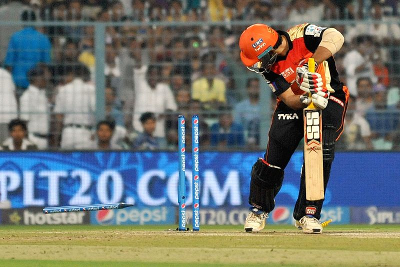 Sunrisers Hyderabad batsman Naman Ojha gets bowled during an IPL 2015 match between Kolkata Knight Riders and Sunrisers Hyderabad at the Eden Gardens in Kolkata, on May 4, 2015. - Naman Ojha
