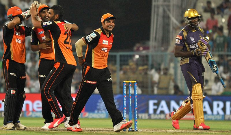 Sunrisers Hyderabad celebrate fall of Andre Russell's wicket  during an IPL 2015 match between Kolkata Knight Riders and Sunrisers Hyderabad at the Eden Gardens in Kolkata, on May 4, 2015.