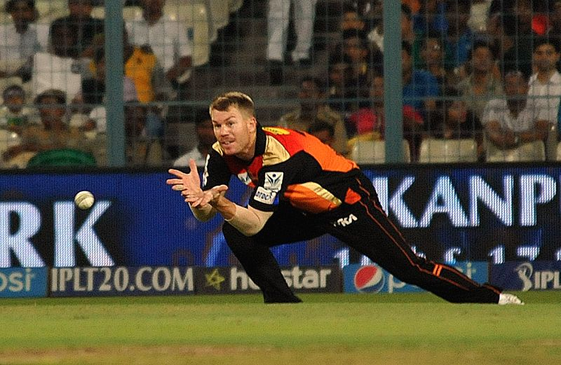 Sunrisers Hyderabad player David Warner in action during an IPL 2015 match between Kolkata Knight Riders and Sunrisers Hyderabad at the Eden Gardens in Kolkata, on May 4, 2015.