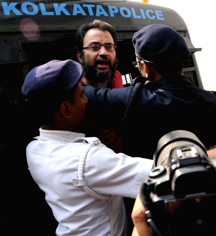 Suspended Trinamool Congress MP Kunal Ghosh being produced to a local court in connection with the Saradha chit fund scam in Kolkata on Jan 28, 2015.