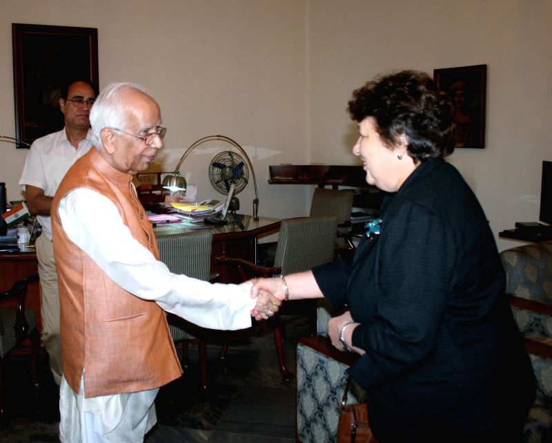 The Consul General of the Russian Federation in Kolkata Irina Kimovna Bashkirova calls on West Bengal Governor Keshari Nath Tripathi at Raj Bhavan in Kolkata, on March 10, 2015. - Keshari Nath Tripathi