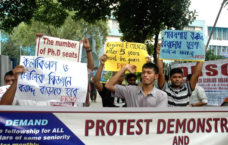The members of Democratic Research Scholars Organisation (DRSO) stage a demonstration against West Bengal Government in Kolkata, on May 12, 2015.