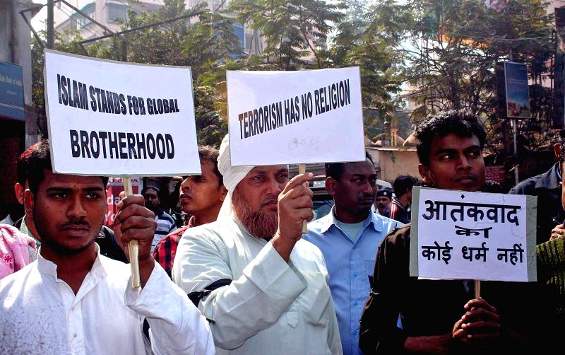The members of Imams Association take part in a rally against the massacre of 12 people at the office of Charlie Hebdo - a French satirical magazine  in Paris, in Kolkata, on Jan 22, 2015.