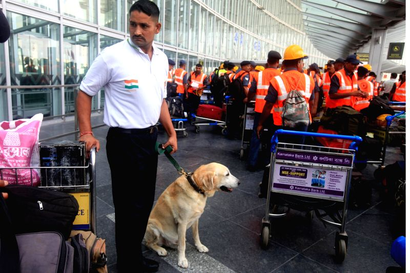 The National Disaster Response Force (NDRF) personnel at Netaji Subhas Chandra Bose International Airport ahead of their departure to earthquake hit Nepal, in Kolkata on April 27, 2015.