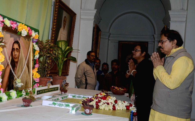 The Speaker of West Bengal Legislative Assembly Biman Banerjee and the Deputy Speaker of the assembly Sonali Guha pay tribute to Ma Saradha Devi on her 162nd birth anniversary in Kolkata on .