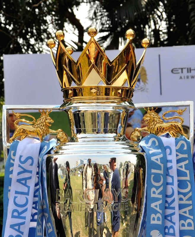 The trophy of English Premier League on display during a programme organised in Kolkata, on March 3, 2015.