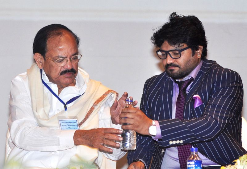 The Union Minister for Urban Development, Housing and Urban Poverty Alleviation and Parliamentary Affairs, M. Venkaiah Naidu and Union Minister of State,Urban Development Babul Supriyo ... - M. Venkaiah Naidu