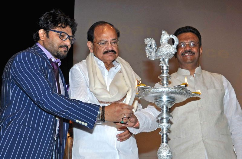 The Union Minister for Urban Development, Housing and Urban Poverty Alleviation and Parliamentary Affairs, M. Venkaiah Naidu, Union Minister of State,Urban Development, Babul Supriyo and ... - Firhad Hakim and M. Venkaiah Naidu