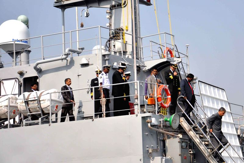 The Union Minister of State for Defence Rao Inderjit Singh during a programme organised to hand over Mauritius Offshore Patrol Vessel (Barracuda) at  Garden Reach, in Kolkata, on Dec 20, ...
