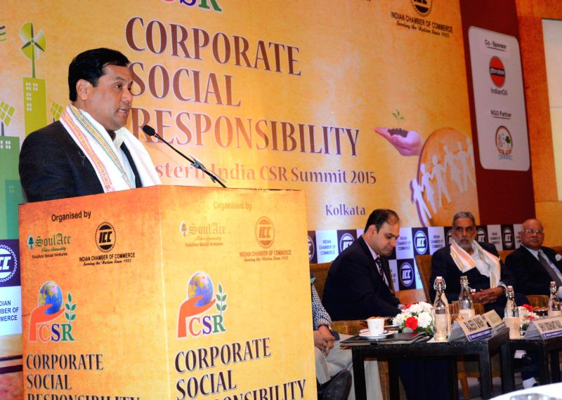 The Union Minister of State for Youth Affairs and Sports (Independent Charge) Sarbananda Sonowal addresses at the Eastern India CSR Summit 2015, organised by the Indian Chamber of Commerce, .