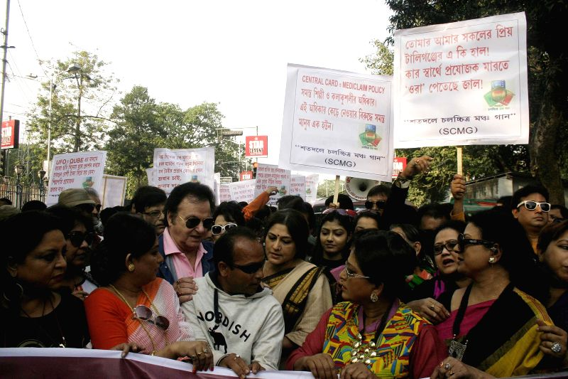 Tollygunge artists and technicians including actress Roopa Ganguly protest against West Bengal Government in Kolkata, on Jan 12, 2015. - Roopa Ganguly