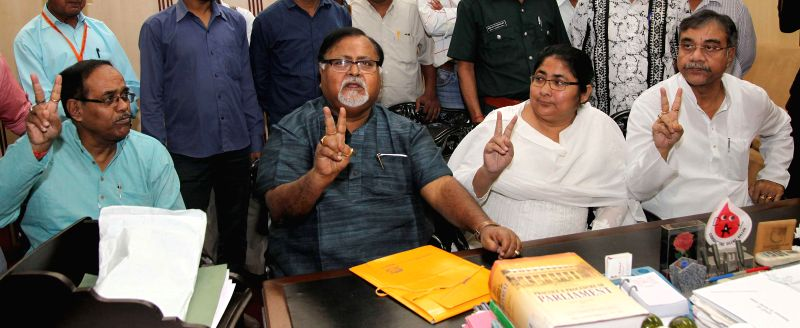 Trinamool Congress leader Dola Sen and West Bengal Education Minister Partha Chatterjee at the West Bengal Legislative Assembly to file her nomination papers for Rajya Sabha elections in ... - Partha Chatterjee