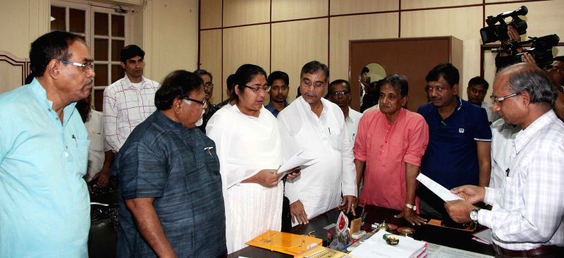 Trinamool Congress leader Dola Sen files her nomination papers for Rajya Sabha elections at the West Bengal Legislative Assembly in Kolkata, on March 7, 2015. Also seen West Bengal Education ... - Partha Chatterjee